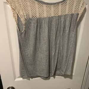 Gap top. Worn twice. Grey and Lace color